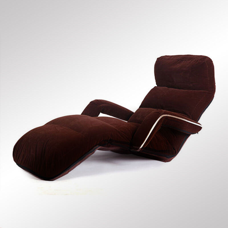 Floor Folding Adjsutable Chaise Lounge With Armrest Living