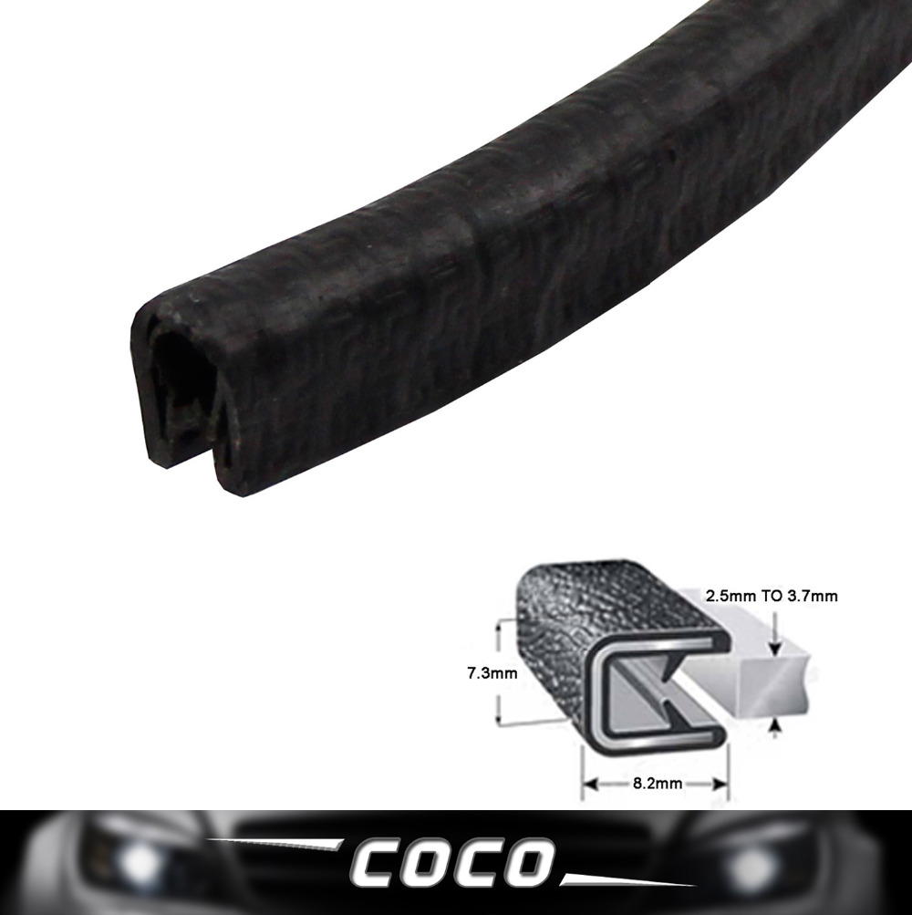 20FT Auto PVC Edge Seal Trim Moulding Strip Door Lock Black Protector Soundproof