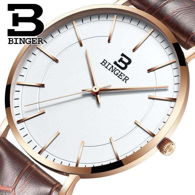 Luxury Brand Watches BINGER Women Watches 2017 Rose Gold Quartz Watch Leather Strap Casual Watch For Men Relogio Masculino