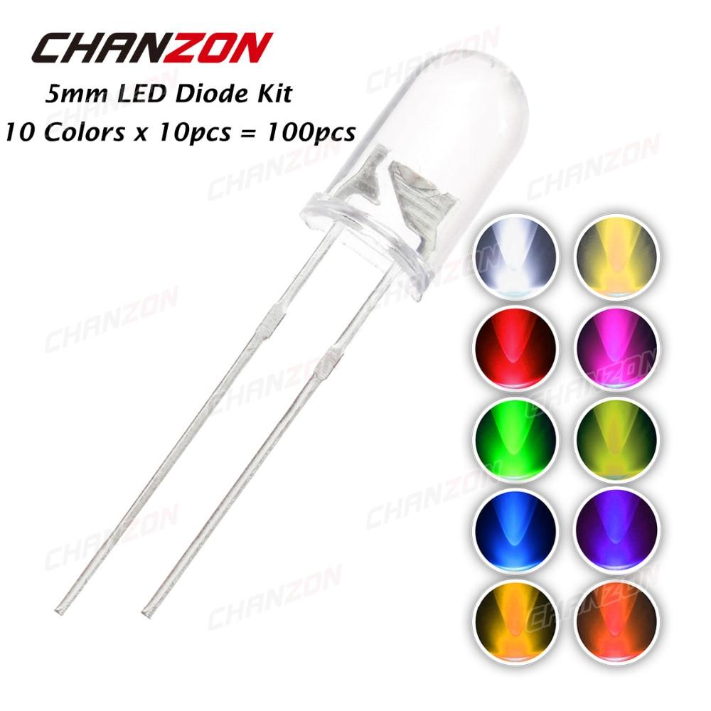 CHANZON 100pcs 5mm LED Kit Red Blue UV Light Emitting Diode