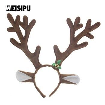 1Pcs Cartoon Reindeer Christmas Antler Headband Kids Horns Cosplay Hair Accessories Happy Birthday Party Decor