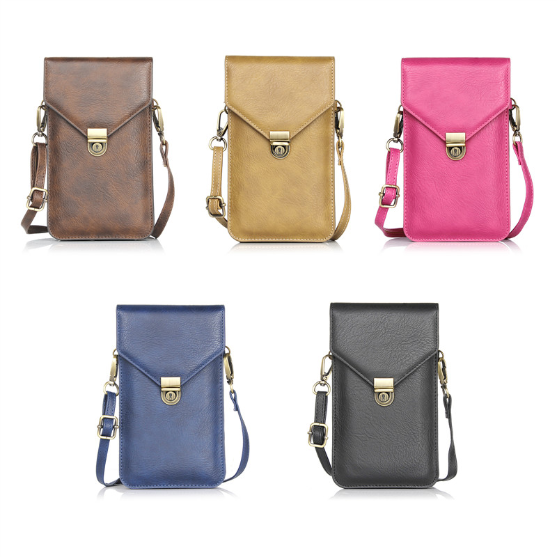 6.3 Leather Small Shoulder Crossbody Pouch for iPhone X 8 8Plus for Samsung S8 S8 Plus S9 Note 8 Mobile Phone Bag