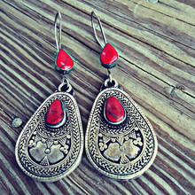 Bohemian Water Drop Earrings for Women Red Gem Stone Beaded Vintage Dangle Silver Color Hook Ethnic Earrings Fine Jewelry Z5M004(China)