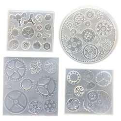 4 шт Силиконовые смолы ювелирные изделия для изготовления ювелирных изделий, уникальные панк шестеренка часы в виде рулевого колеса