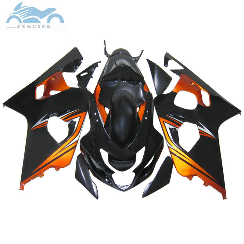 ABS motorcycle Fairing kits for SUZUKI 2004 2005 GSXR600 R750 sport racing fairings kit 04 05 GSXR750 GSXR 600 K4 orange black title=