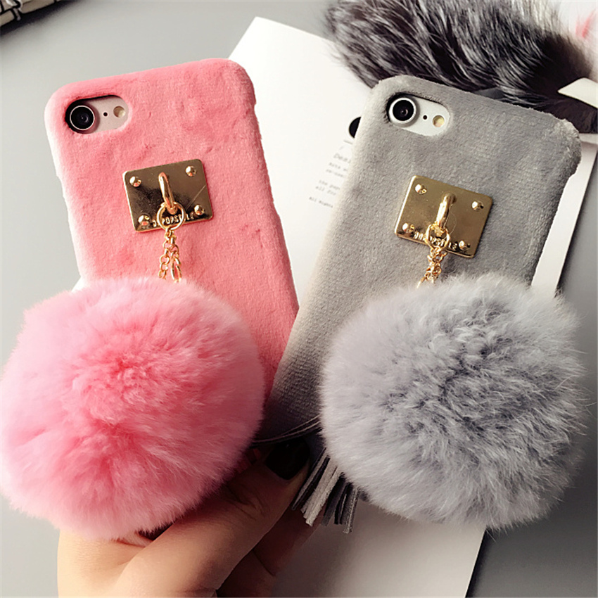 Ayeena Mirror Pompom Case For Samsung J3 J5 J7 2017 Plush Real Rabbit Fur Pompom Fluffy Mirror Phone Tpu Back Caja Clear-Cut Texture Cellphones & Telecommunications Fitted Cases