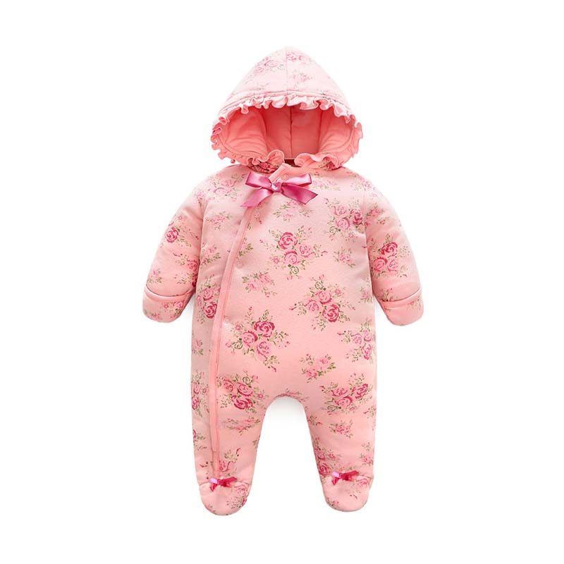 Spring Winter Newborn Cotton Flannel Overalls Baby Girls Warm Romper Baby Hooded Overalls Toddler Jumpsuit Kids Snowsuit E174