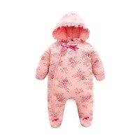 Spring Winter Newborn Cotton Flannel Overalls Baby Girls Warm Romper Baby Hooded Overalls Toddler Jumpsuit Kids Snowsuit E174
