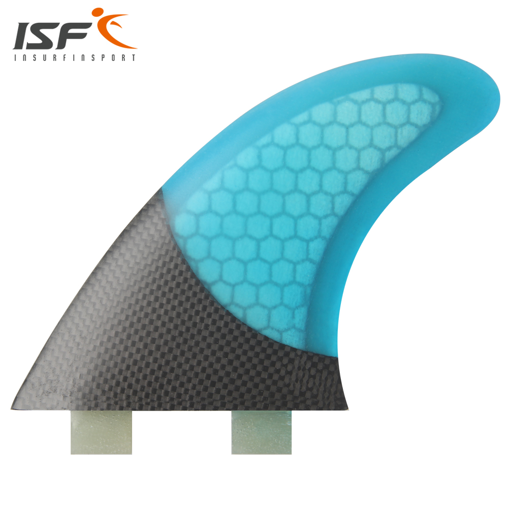 Insurfin Surfboard Fins Thruster tri fin Set (3) FCS Compatible Carbon Blue Large Surf Fin