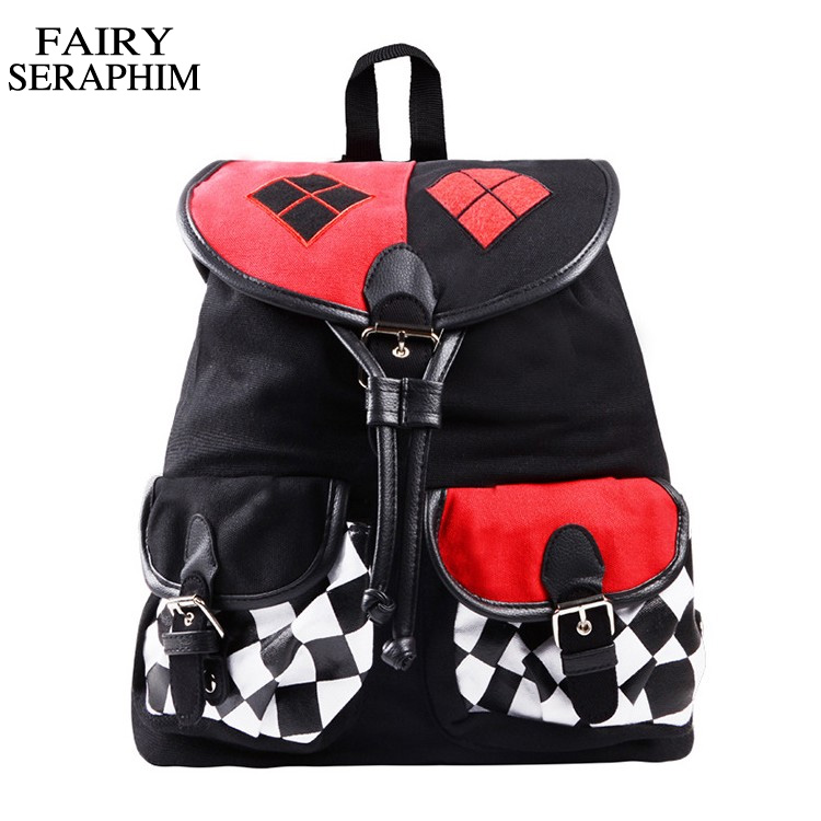 FAIRY SERAPHIM New Design Suicide Squad Harley Quinn Backpack mochila Cosplay Knapsack School Bag joker children schoolbag suicide squad harley quinn harleen quinzel high quality pu short wallet purse with button