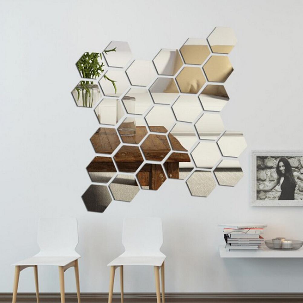 unidsset d oro plata espejo geomtrico hexgono acrlico grande mural decoracin del hogar