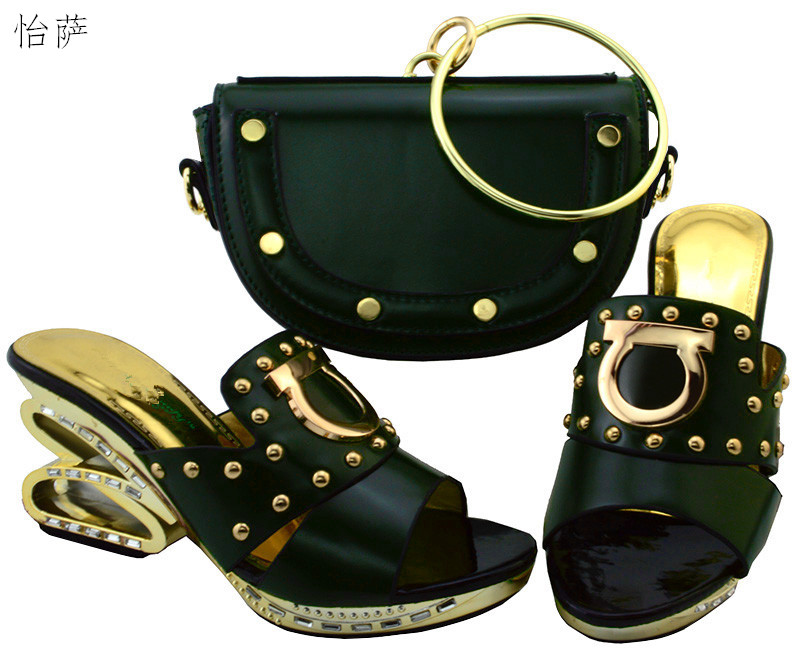 2017 New coming African sandals Italian shoes and bags to match shoes with bag set SIZE38-43! SYM1-11 2017 new coming italian fashion black ab