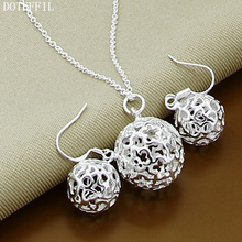 Necklace Earring Top Quality Silver 925 Round Hollow Ball  Fashion Jewerly For Women