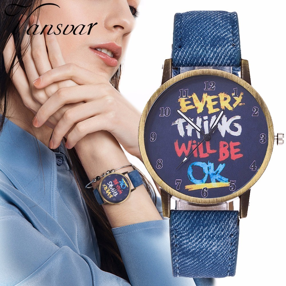 Vintage Jeans Watch For Women Leather Everything Will Be OK Watch Fashion Casual Wrist Watch Relogio Feminino Drop Shipping