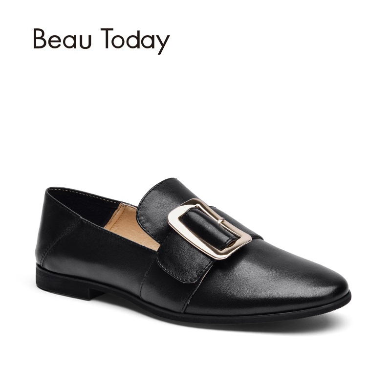 Beau Today Genuine Leather Loafers Women Metal Buckle Slip On Round Toe Flats for Ladies Dress Casual Shoes Handmade 27036 women ladies flats vintage pu leather loafers pointed toe silver metal design