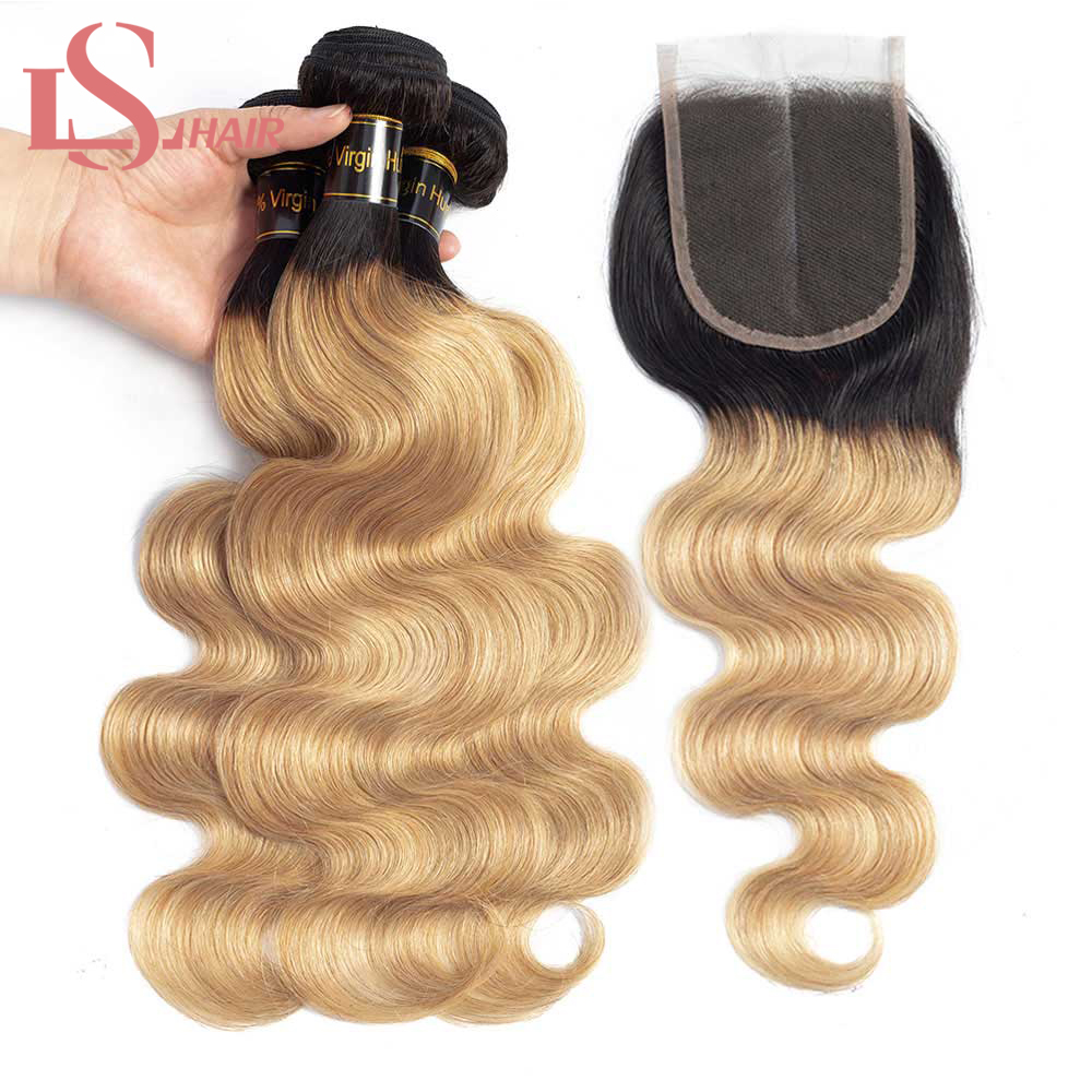 Mornice Human Hair Bundles Med Lukning Brasilianske Body Wave Hair - Menneskehår (sort)