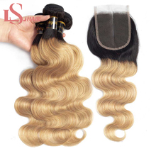 LS Hair Human Bundles With Closure Brazilian Body Wave remy 1B/27 Ombre honey blonde hair