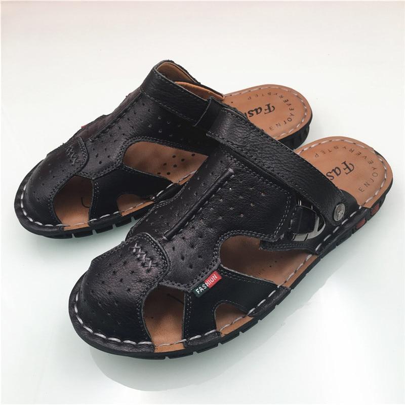 Zomer Lederen heren Slippers Strand Sandalen Voor Mannen Platte - Herenschoenen - Foto 2