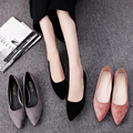 LLZCY Flat Shoes Women Elegant Office Pointed toe Flats Fashion Ladies Black Red Apricot Spring Autumn Shoe woman