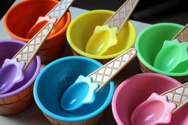 Mode Schattige Kinderen Snoep Kleur Ijs Kom Lepel Set Ijs Cup Dessert Container Houder Met Lepel