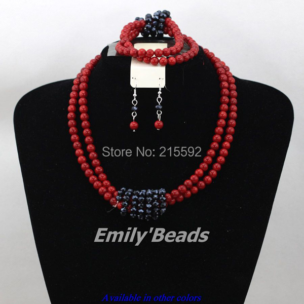 Red African Wedding Coral Beads Jewelry Set 2015 New Design Nigerain Bridal Necklaces Earrings Bracelet Set Free Shipping CJ327