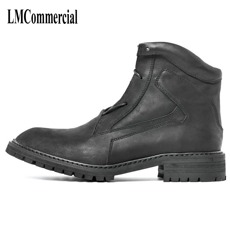 Korean men's leather boots Martin England chunky high shoes retro low winter boots help fashion casual shoes boots breathable martin boots men s high boots korean shoes autumn winter british retro men shoes front zipper leather shoes breathable