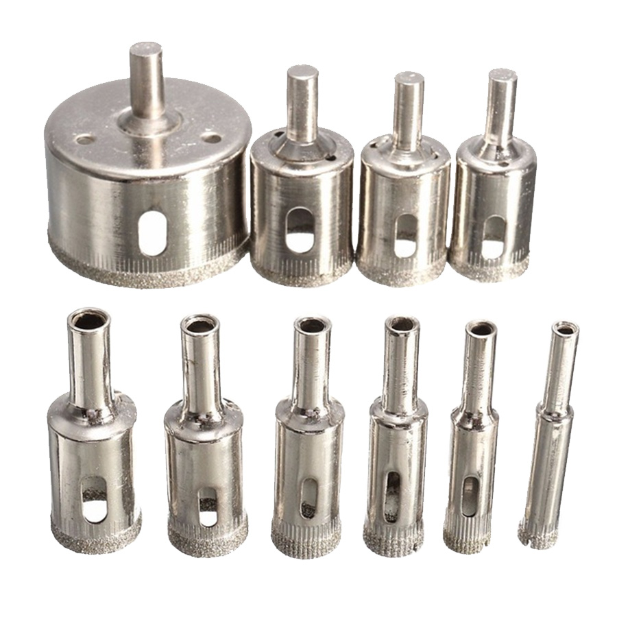 10pcs Diamond Glass Drill Bit Set Tile Marble Glass Ceramic Hole Saw Drilling Bits Hole Opener For Power Tools 6mm-30mm Durable