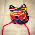 Half Face Japanese Style Hand-Painted Fox Mask Kitsune Moths Pattern Cosplay Masquerade for Party Halloween