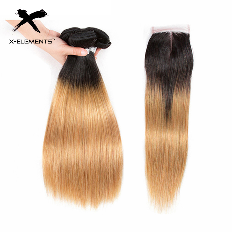 X Element Brazilian Ombre Straight Hair Bundles With Closure T1B 27 Ombre Human Hair Weave With