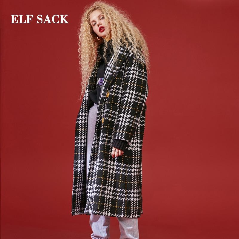 ELF SACK Winter Neue Mode Wolle Mäntel Frau Blends Casual Breite taille Drehen unten Kragen Femme Jacke Streetwear weibliche Mäntel-in Wolle & Mischungen aus Damenbekleidung bei  Gruppe 3