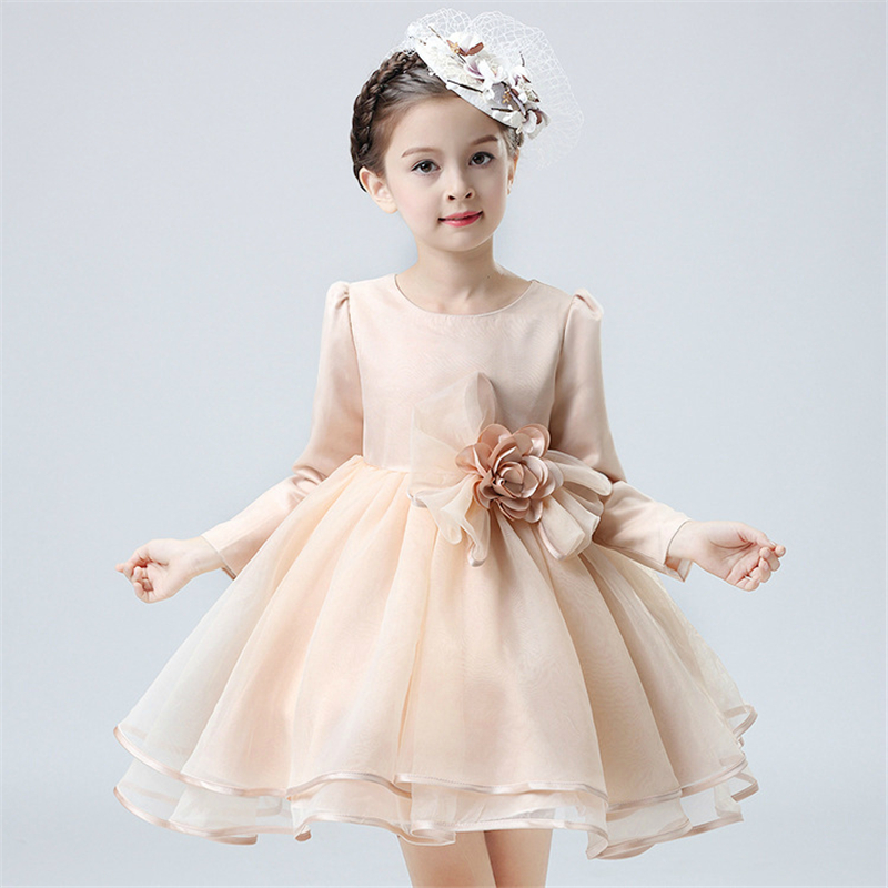 2017 Spring And Autumn Infant Baby Dress Princess Party Girls Long-Sleeved Dresses Toddler Baptism Dress Of Kids Clothes qiu dong children dress long sleeved cinderella princess dress love sally dresses of the girls