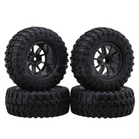 Mxfans 1 9 Inch Black 96mm OD Square Pattern Rubber Tyre Plastic Wheel Rims For RC1
