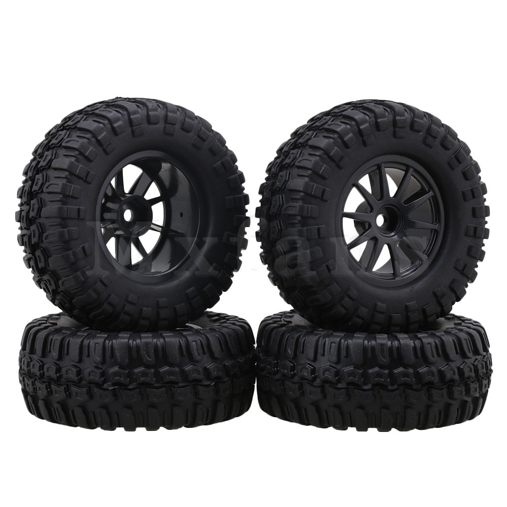 Mxfans 1.9 inch Black 96mm OD Square Pattern Rubber Tyre & Plastic Wheel Rims for RC1:10 Rock Crawler Pack of 4 mxfans rc 1 10 2 2 crawler car inflatable tires black alloy beadlock pack of 4