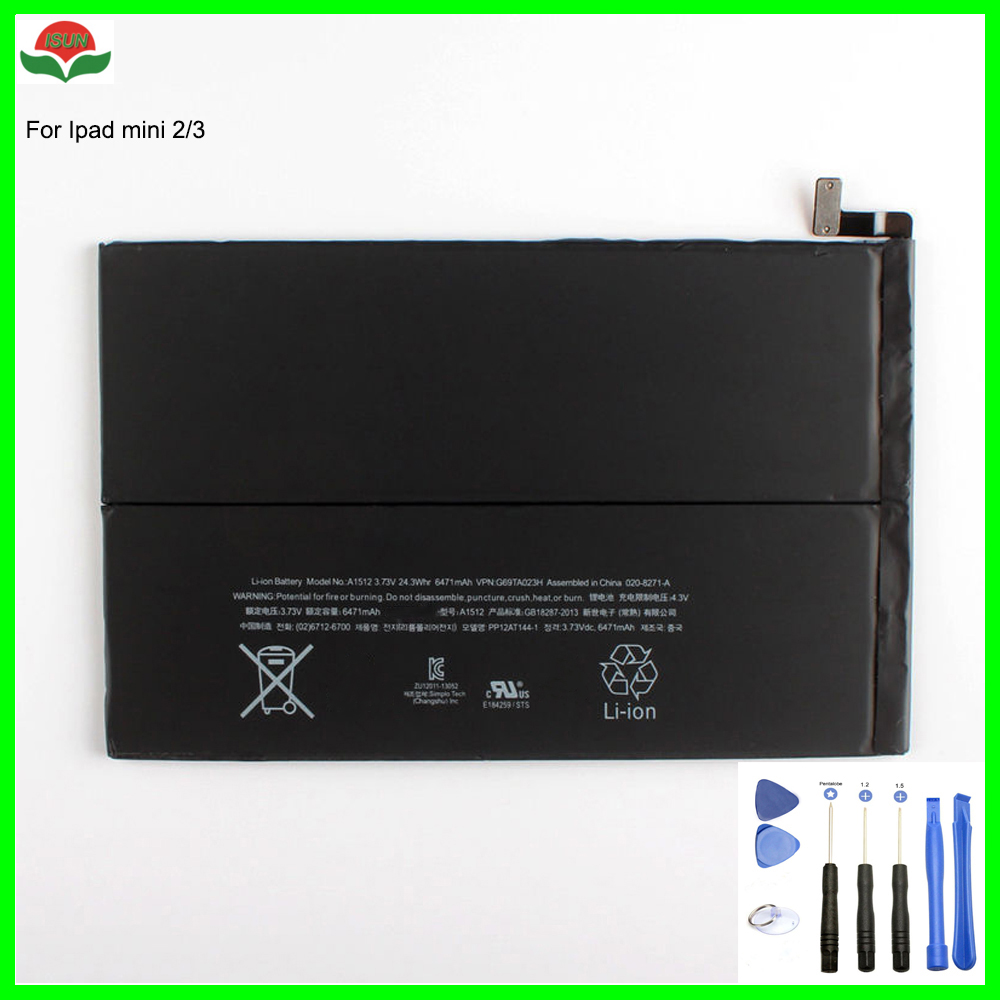 ISUN 6471mAh mini2 mini3 battery A1512 for ipad mini 2 Mini 3 A1489 A1490 A1491 A1599 tablet battery for Apple with Repair Tools