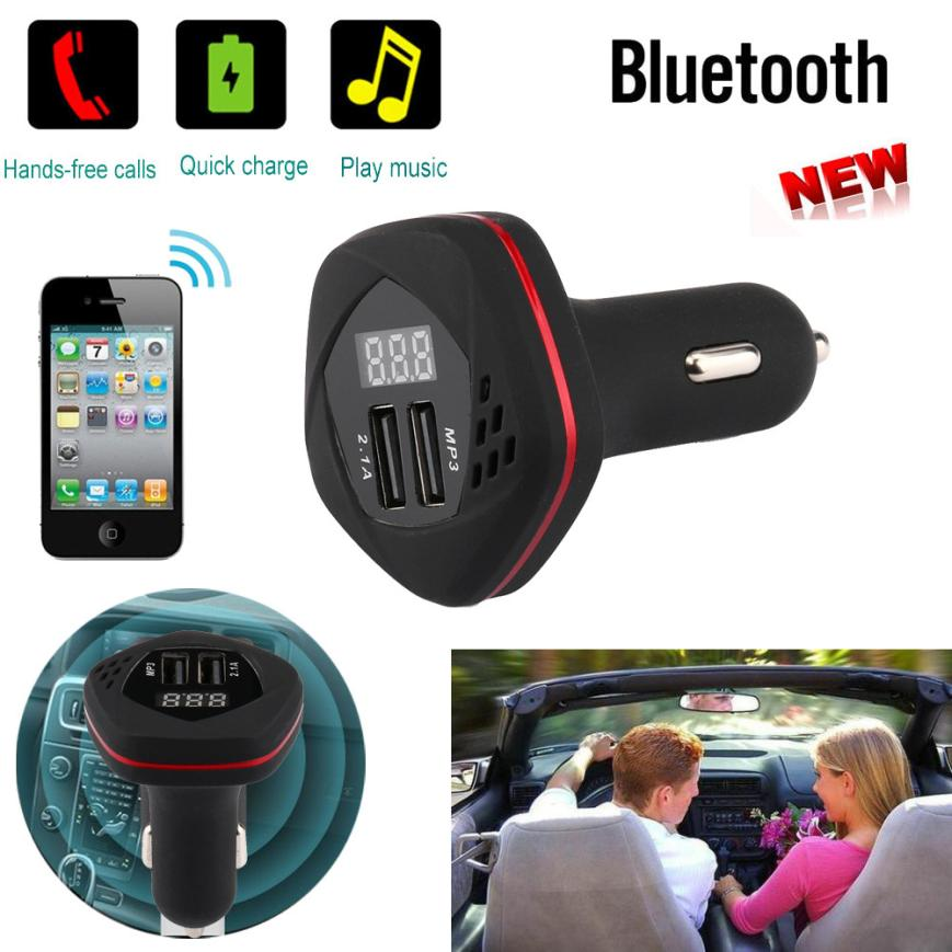 2018 Hot selling New Fashion Car Charger 5V 3.1A Bluetooth Car Kit MP3 Player FM Transmitter Wireless Radio Adapter USB Charger