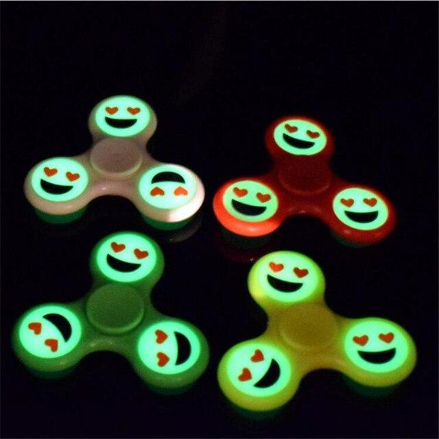 4 шт./компл. Спиннеры световой Улыбка Emoji EDC палец Spinner Пластик ручной Spinner светятся в темноте аутизм СДВГ анти-стресс