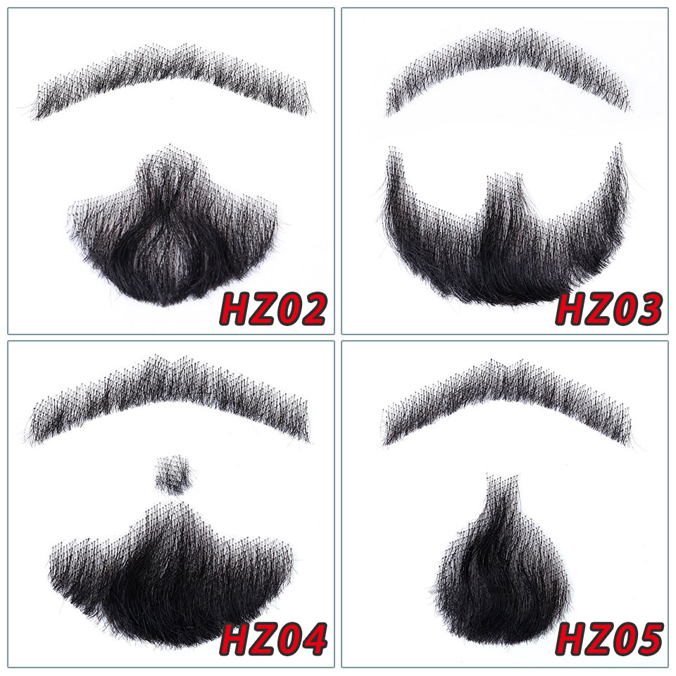 Brazilian Lace Beard For Men 100% Human Hair Hand Made Mustache Remy Hair Cosplay Swiss Lace Invisible Fake Beards SalonChat
