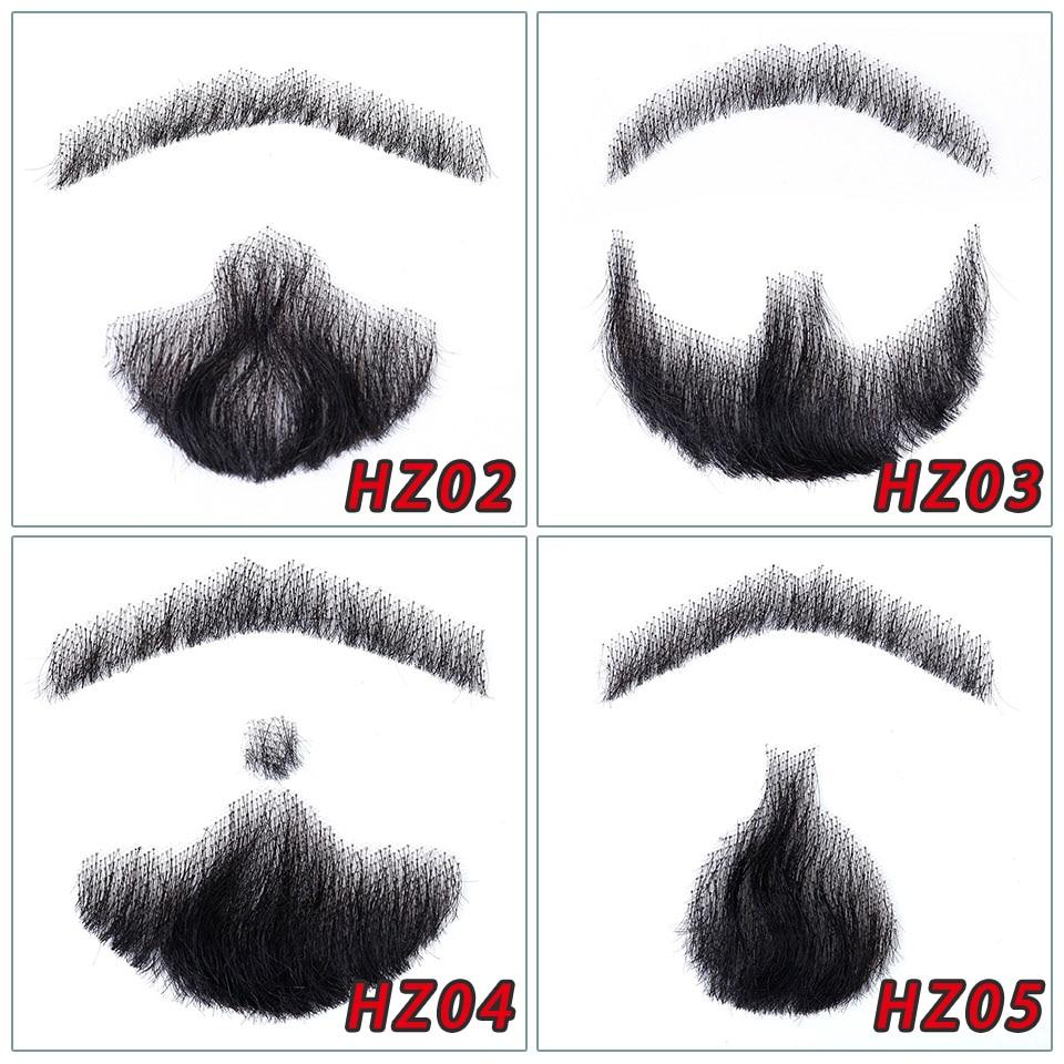 Brasileira Rendas Feitas À Mão Bigode Barba Para Os Homens 100% de Cabelo Humano Remy Cabelo Cosplay Laço Suíço Invisível Barbas Falsas SalonChat
