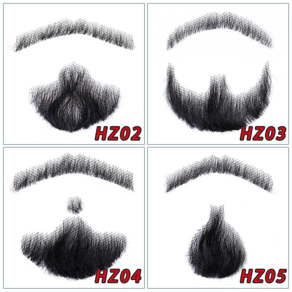 Barba de encaje brasileño para hombres 100% cabello humano hecho a mano bigote Remy pelo Cosplay encaje suizo Invisible barbas falsas SalonChat