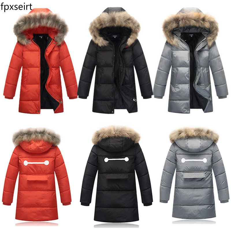 Children's 2016 winter Korean version, big boy down cotton, cotton padded jacket, long boy hair collar, even thicker cap coat pinli product made of cultivate morality even cap long cotton padded jacket zipper qiu dong outfit b173605400 male coat