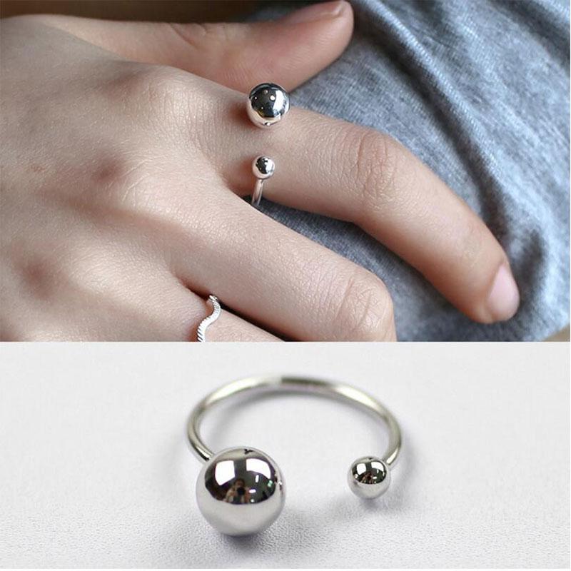 Anenjery 925 bijoux en argent Sterling grande et petite Double boule perles ouverture anneaux pour femmes bague anillos S-R167