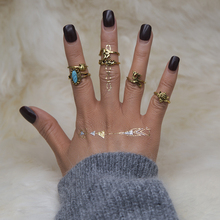 XIYANIKE Turtle Crown 5UNID Acrylic Water Droplets Rings Sets Vintage Silver Midi Rings Ring Boho Beach Sets For Women Gift R84