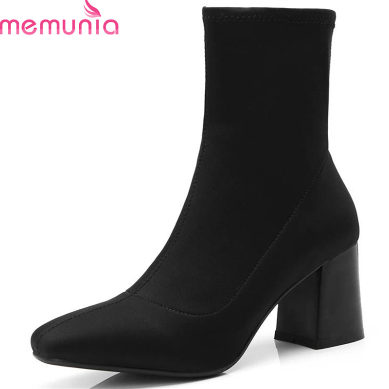 MEMUNIA 2018 new style Elastic cloth solid color autumn boots slip on fashion ankle boots for women high heels shoes woman black