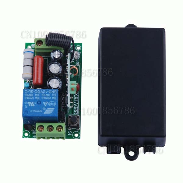 AC220V 1CH 10A Remote Control Light Switch Relay Output Radio Receiver Module + Case Free Shipping dc 12v photoresistor module relay light detection sensor light control switch l057 new hot