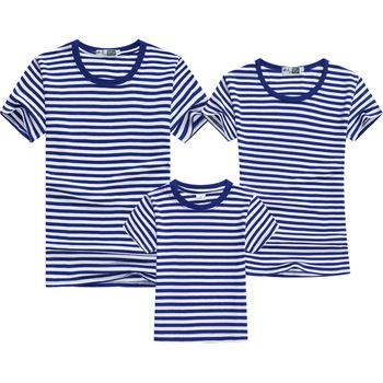 Lato rodzina pasujące ubrania modne w paski wygląd rodziny Tshirt z krótkim rękawem ojciec matka i dzieci pasujące rodzinne stroje tanie i dobre opinie Chanpoetry Dobrze pasuje do rozmiaru wybierz swój normalny rozmiar moda krótkie Koszulki COTTON Matka Ojciec Dziecko