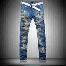 Мода джинсы для мужчин 2015 весной новые стильные мужские окрашены печать джинсы, Высокое качество цветочные брюки для человека синий цвет MB549 Z20