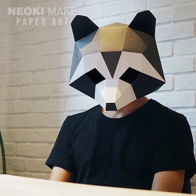 Creative Diy Paper Pattern Handmade Mask Raccoon Tail Set Full Face Tide Cute Mint Muffle Party
