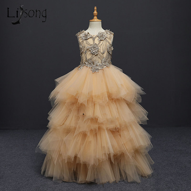 2018 Gold Puffy Beaded Pageant Dresses For Girls Appliques Ruffles ...