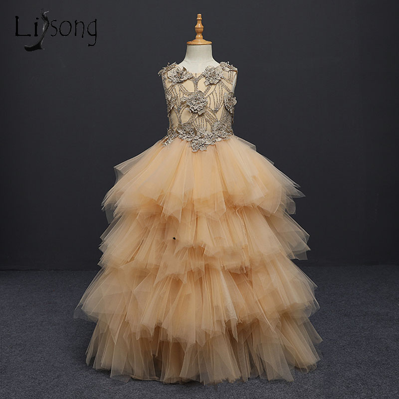 2018 Gold Puffy Beaded Pageant   Dresses   For   Girls   Appliques Ruffles Tiered   Flower     Girl     Dress   Kids Communion   Dresses   Tutu Gowns