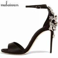 Sexy Black Peep Toe Women High Heels Mary Jeans Satin Gladiator Sandals Rhinestone Wedding Dress Shoes